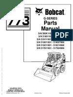 Bobcat Compact Mini Excavator 773 G-Series Parts Manual