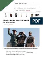 Mosul Battle_ Iraqi PM Abadi Urges is to Surrender - BBC News
