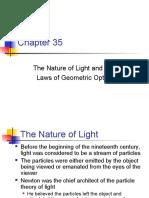 The Nature of Light the Laws of Geometric Optics