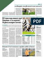 La Provincia Di Como 01-11-2016 - Calcio Lega Pro