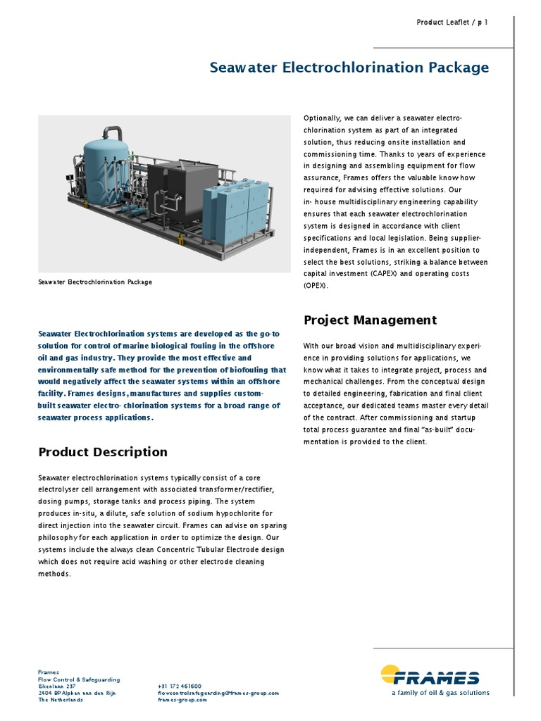 Product Leaflet Seawater Electrochlorination | Rectifier | Gases