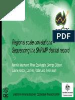 Regional scale correlations –Sequencing the SHRIMP detrital record