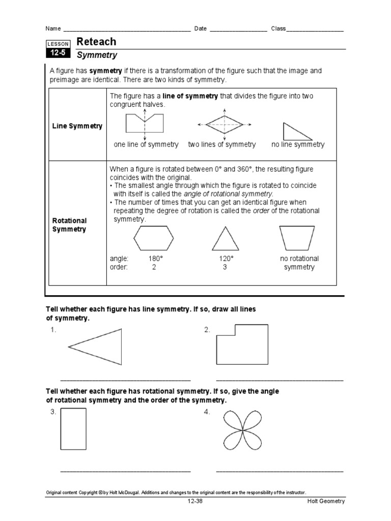 symmetry worksheet euclidean geometry geometric shapes