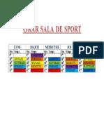 Orar Sala de Sport