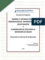 Normas y Criterios Para Anteproyectos y Tesis Investigacion Uca