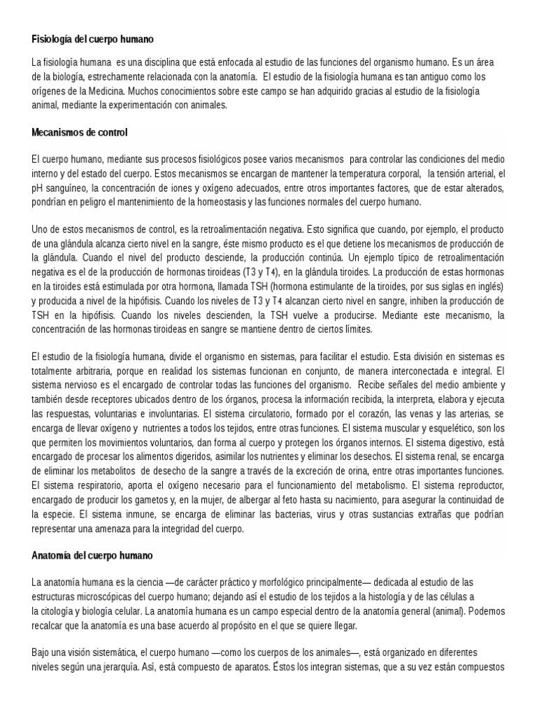 Fisiologia Del Cuerpo