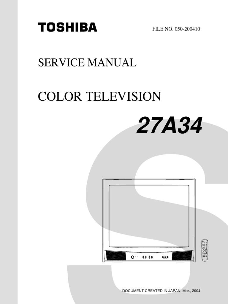 toshiba 27a34 color tv service manual download