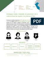 Descripcion Proyecto. Estrategias Locales Integradas de Prevencion Hacia Las Mujeres y Los Jovenes en Peru ES