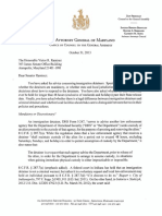 10.31.13 Letter from MD Att'y Gen. to Sen. Ramirez on Immigration Detainers