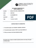 Oumh1303 Sample Exam 3
