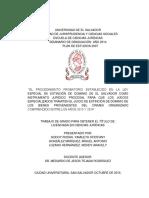 _el Procedimiento Probatorio Establecido en La Ley Especial de Extinción de Dominio de El Salvado