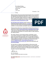 Peter Morales UUA President - Letter to Jonathan Pershing for Marrakech Conference 2016