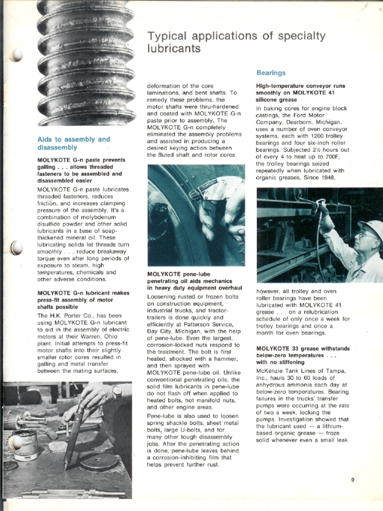 Typical Applications of Molykote Products | Bearing