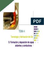 Carrera de electrónica - Materiales Electrónicos - Tecnología y Fabricación de CIs - Tema 4 - Universidad de Salamanca