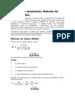 Cálculo de Luminárias Método Do Índice Médio