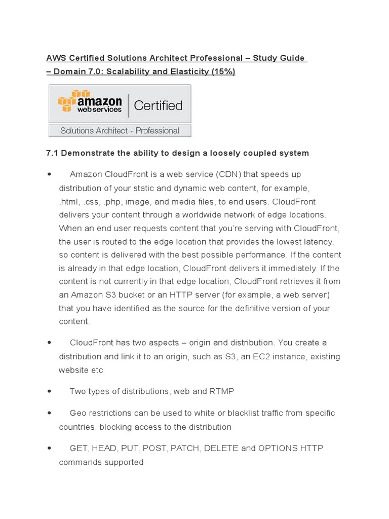 Aws Certified Solutions Architect Professional Study Guide