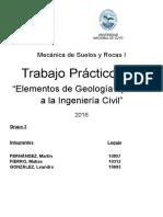 TP 1 - Mecánica de Suelos y Rocas I - Elementos de Geologia aplicados a la Ingenieria Civil