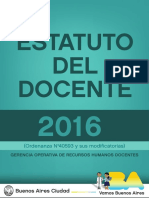 Estatuto del Docente de la Ciudad de Bs.As. Oct 2016