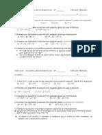 Evalución Ecuación Cuadrática 2016