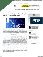 Apa itu Forex ~ Pengertian Forex, Fungsi, dan Pelaku Dalam Pasar Forex