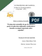 Menor - Producción Sostenible de Gas de Síntesis a Partir de Glicerina Utilizando Catalizadores b...