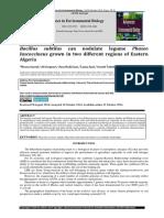 Bacillus subtilus luscoccineus grown in two different regions of Eastern Algeria