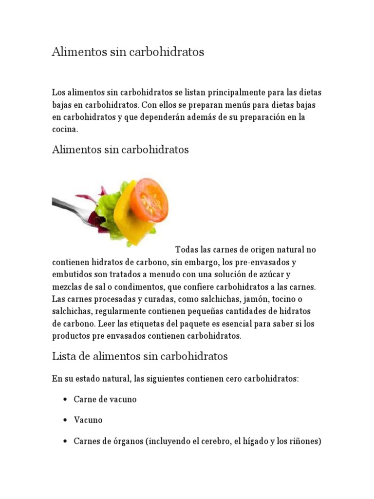 tabla de alimentos sin carbohidratos