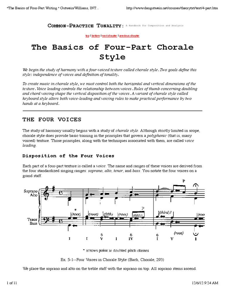four part writing exercises pdf