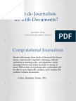 What Do Journalists Do With Documents? Field Notes for NLP Researchers