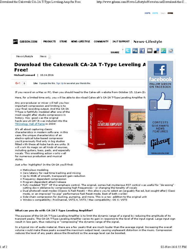 Cakewalk CA-2A T-Type Leveling Amp for Free | Electronics