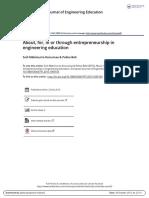 Entrepreneurship in Engineering Education