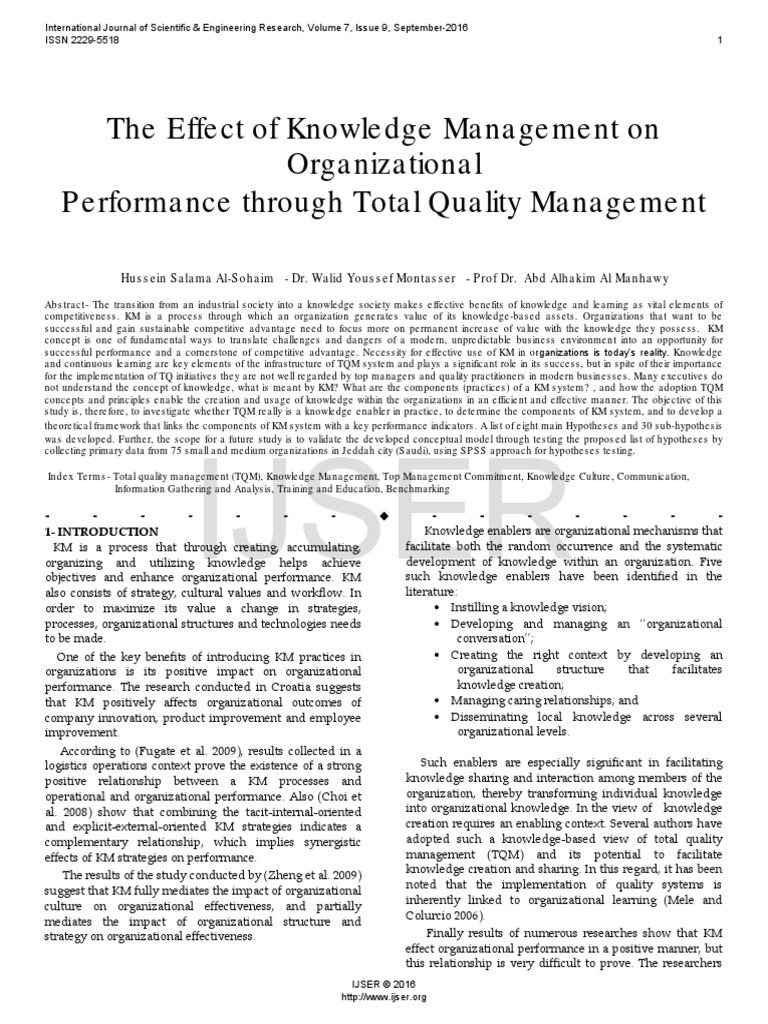 The Effect of Knowledge Management on Organizational