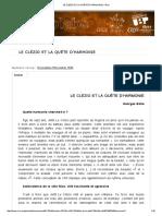 Le Clézio Et La Quête d'Harmonie _ Crlv