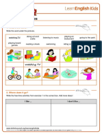 Worksheets Free Time Activities