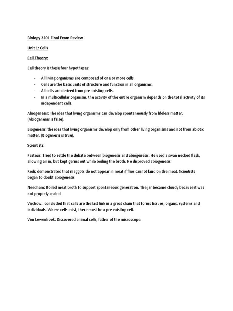 biology final exam review