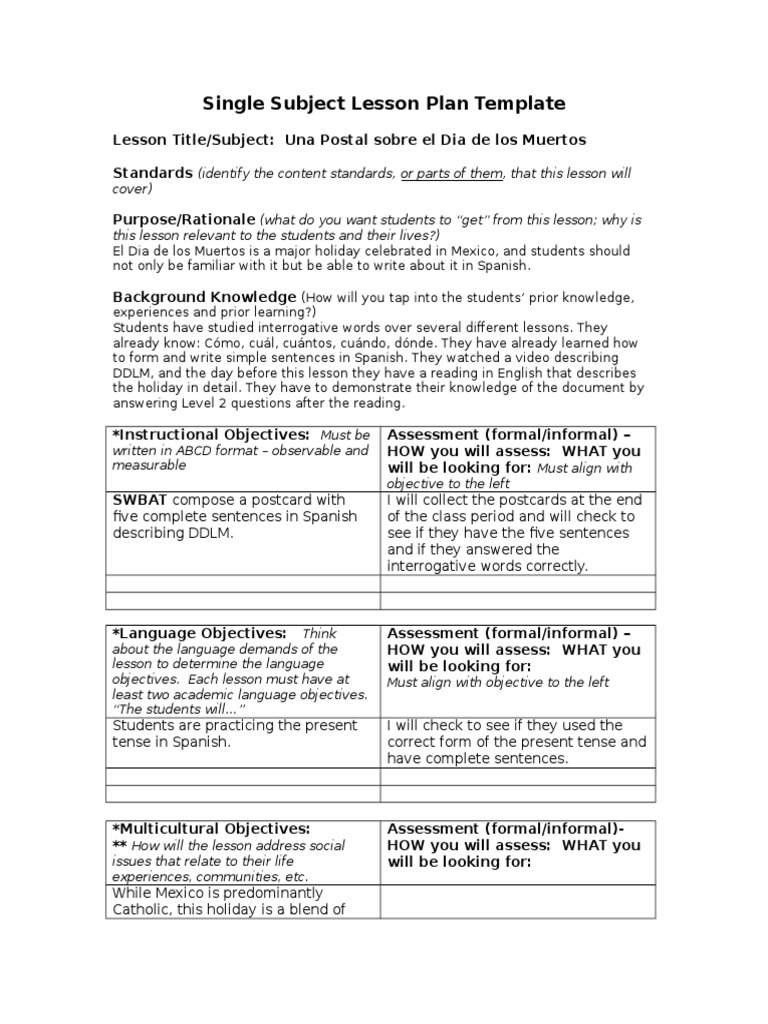 Postcard Home Lesson Plan Template Question Lesson Plan - Single subject lesson plan template