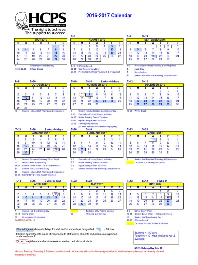 HCPS+School+Calendar | Observances | Holidays