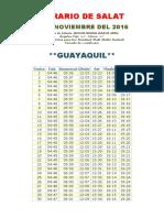 Horarios de Salats NOVIEMBRE 2016 Ecuador
