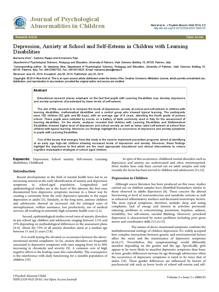 Depression Anxiety at School and Selfesteem in Children With