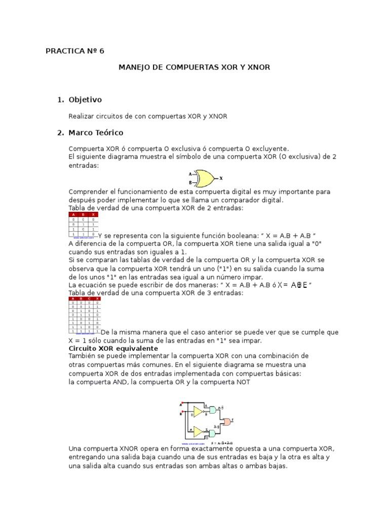 Circuito Xor : Preinforme6 de sistemasdigitales