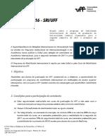 Edital 142016 Programa de Mobilidade Internacional UFF