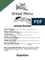 Bread Art Bakery Menu