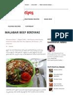 Malabar Beef Biriyani Yummy Recipes