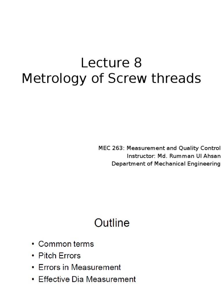 8 Metrology of Screw Thread