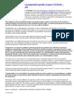 Prevederi Referitoare La Impozitul Specific (Legea 170 2016) – Precizări Oficiale ANAF