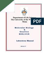 BIOL1018 Lab Manual 2016