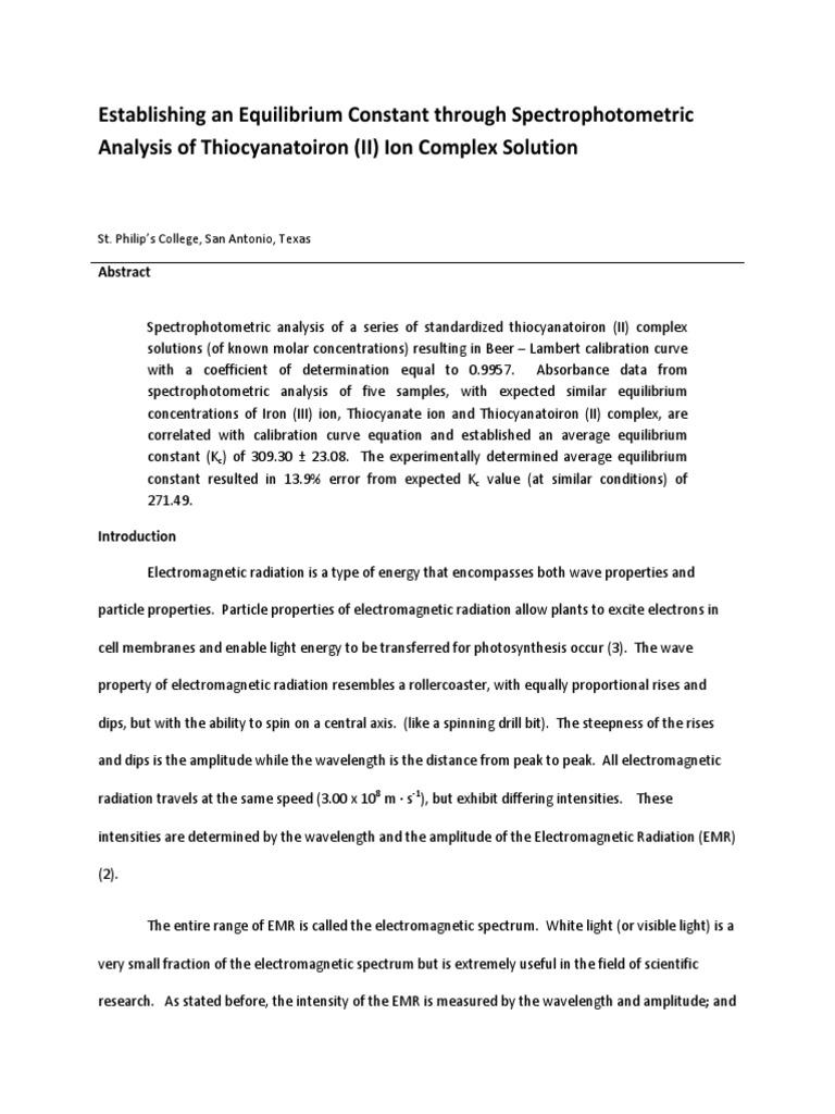 Equilibrium Constant Report Example 1 | Chemical Equilibrium