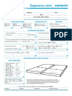 Expansion Joint Checklist