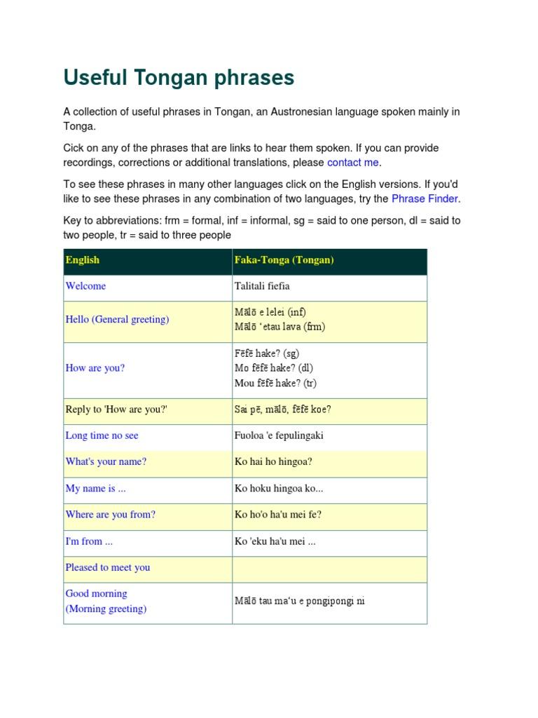 Tongan Phrases Tonga Symbols