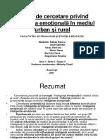 Raport de Cercetare Privind Inteligenta Emotionala